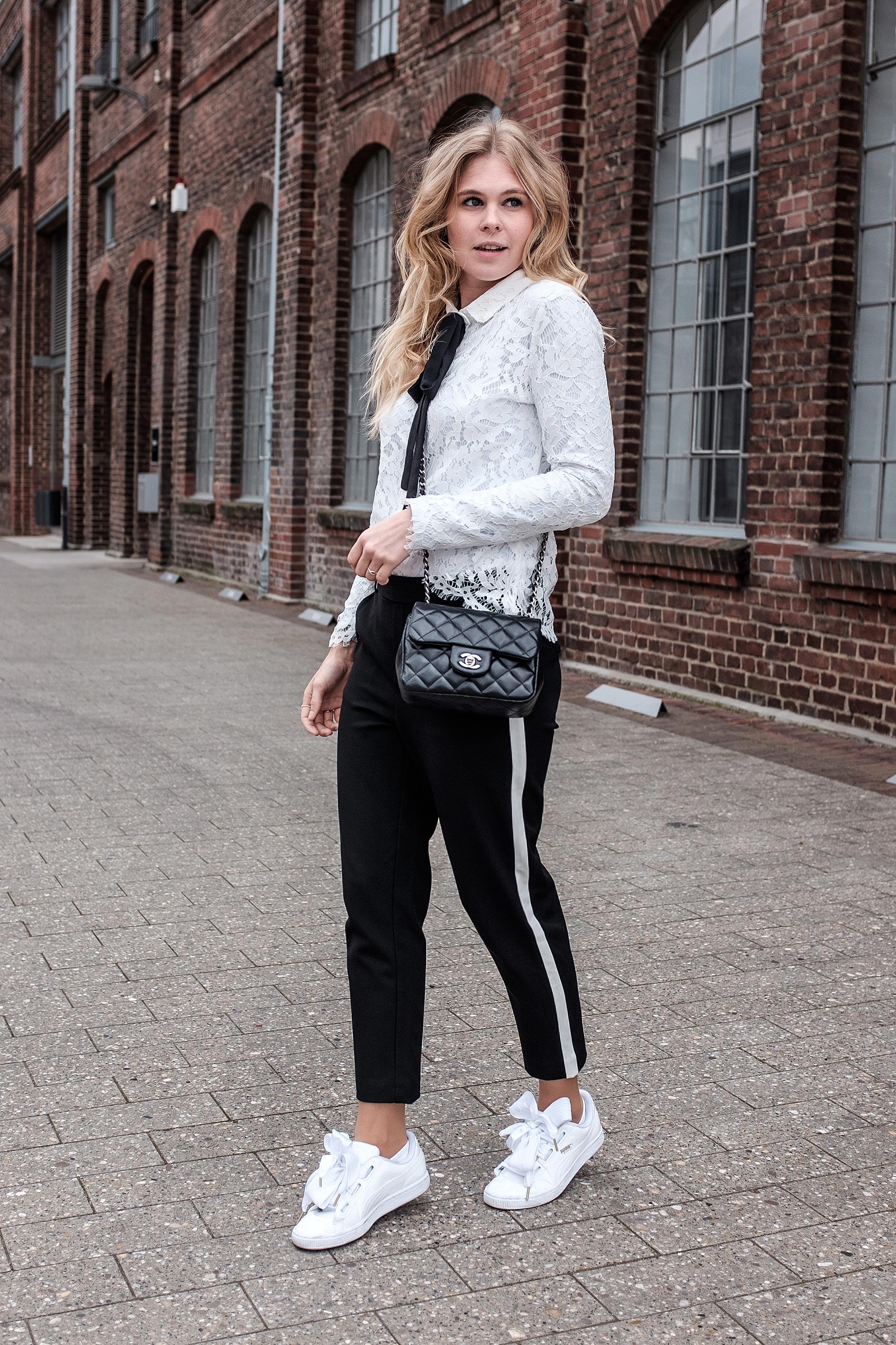 Casual Outfit schwarz weiß Fashionblog Düsseldorf Sunnyinga