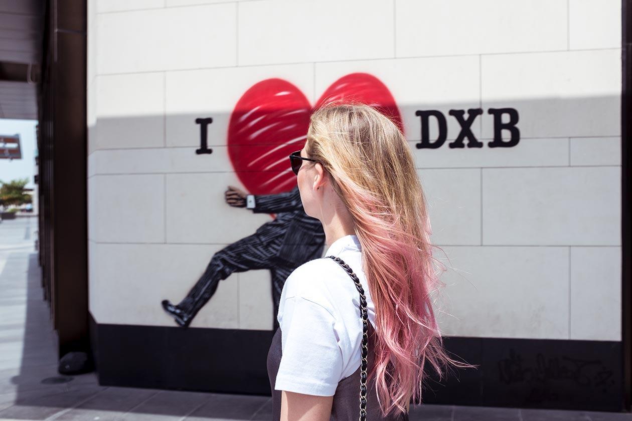 CityWalk Dubai Wallart I Love DXB Herz Sunnyinga Travelblog