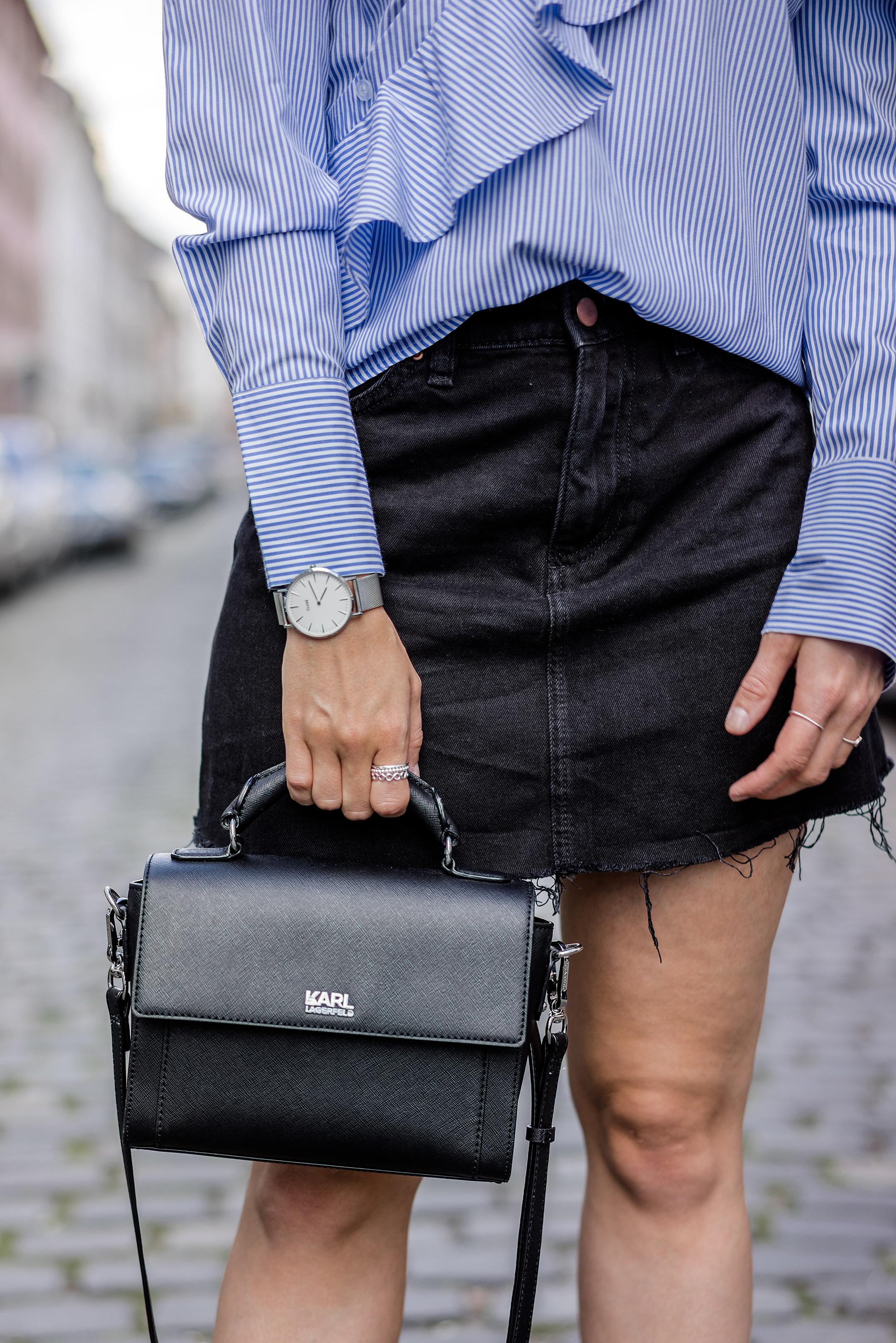 Karl Lagerfeld Handtasche schwarz klassisch Outfit Fashionblog