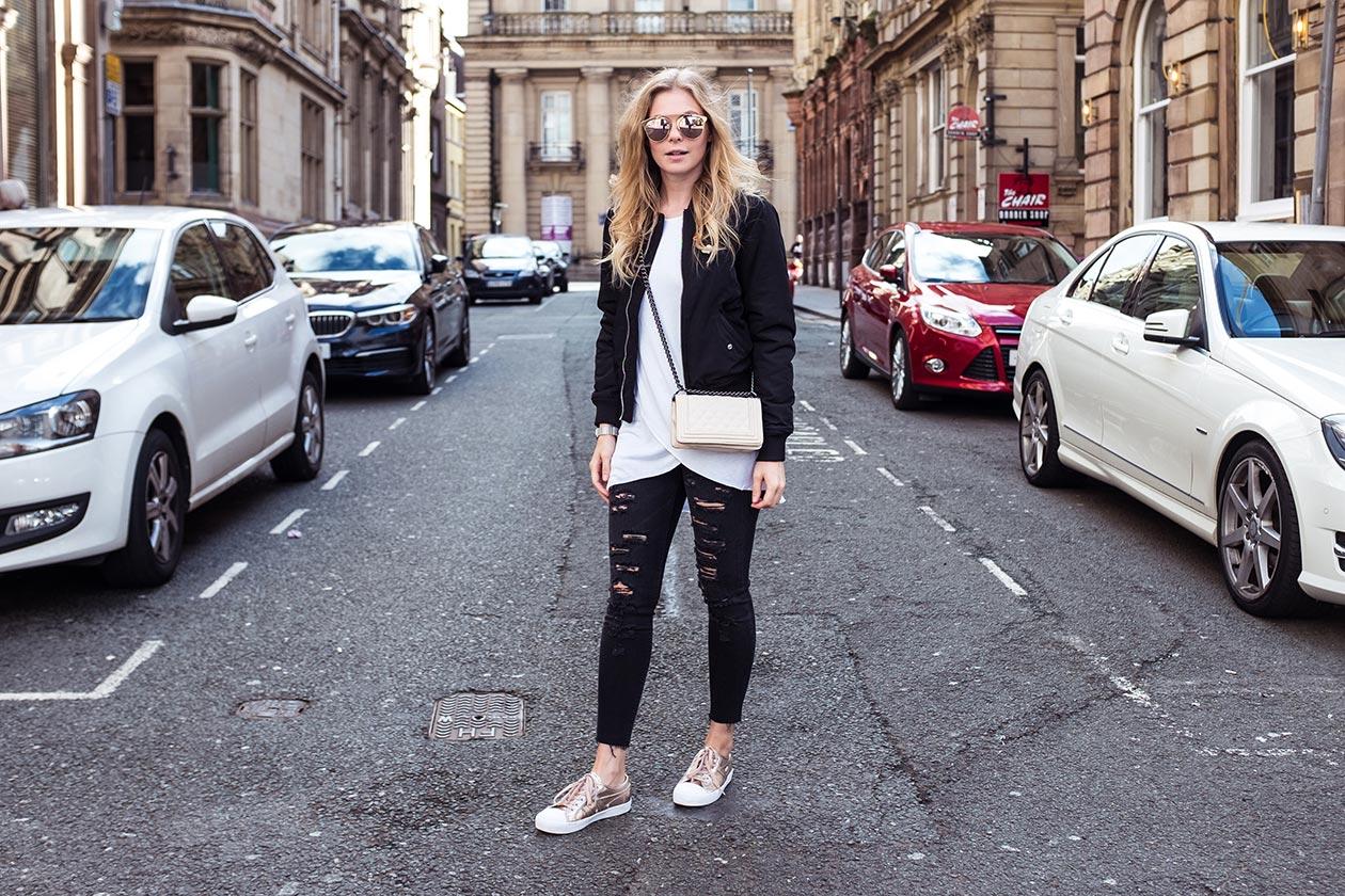 Outfit Liverpool Bomberjacke Gola Sneaker Sunnyinga Fashionblog