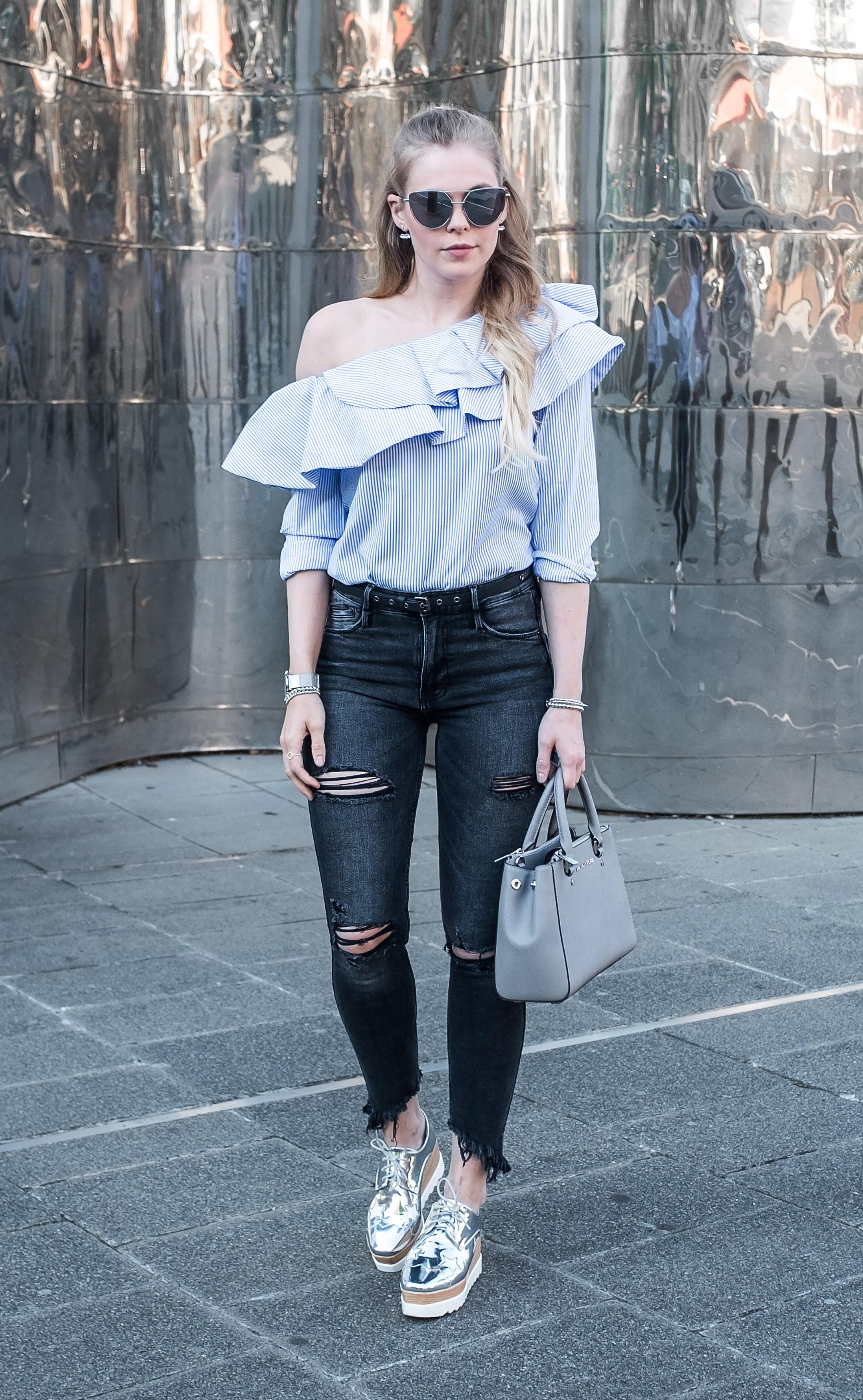 Outfit One Shoulder Bluse Modeblog Düsseldorf Sunnyinga