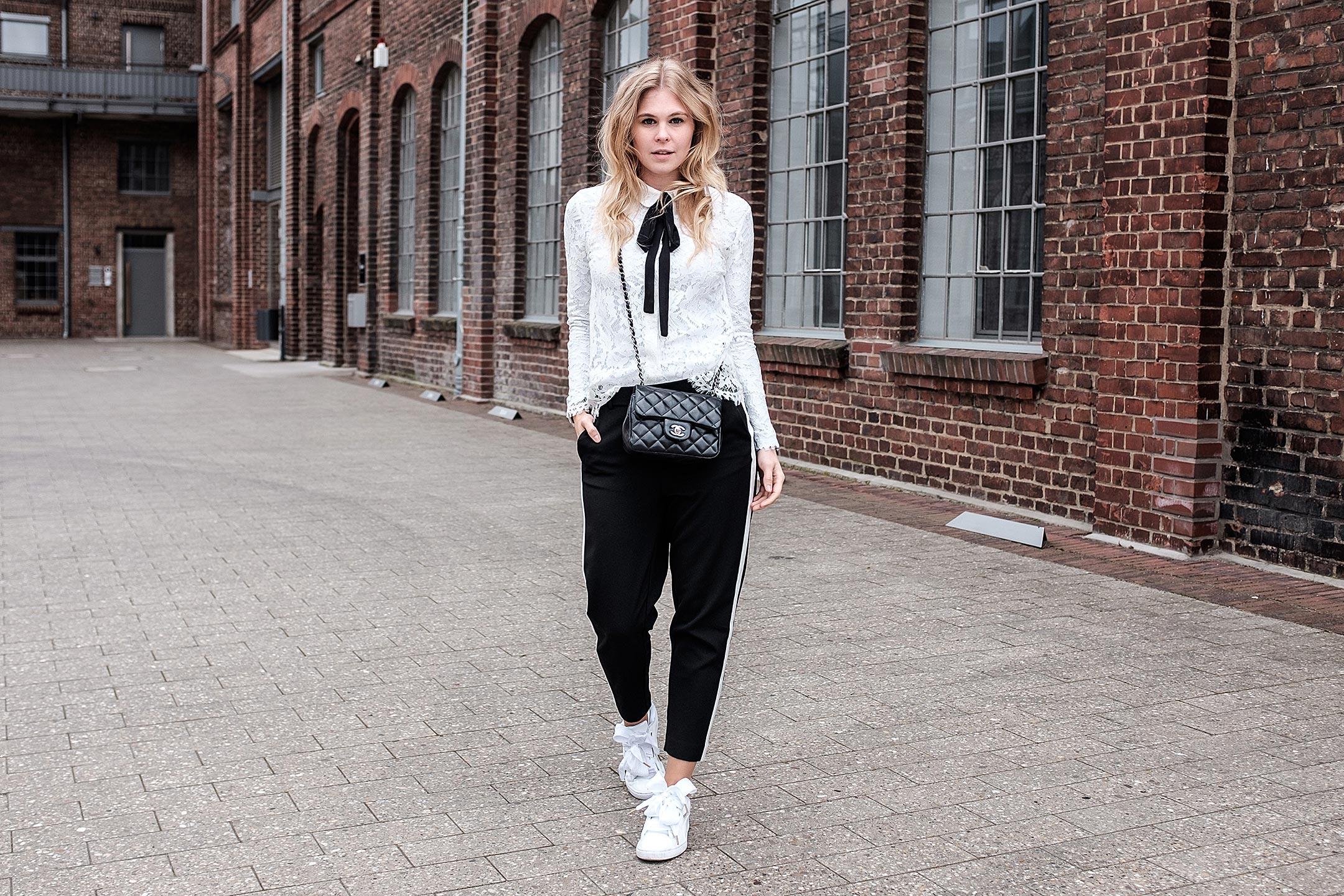 Outfit schwarz weiß Fashionblog Sunnyinga Düsseldorf