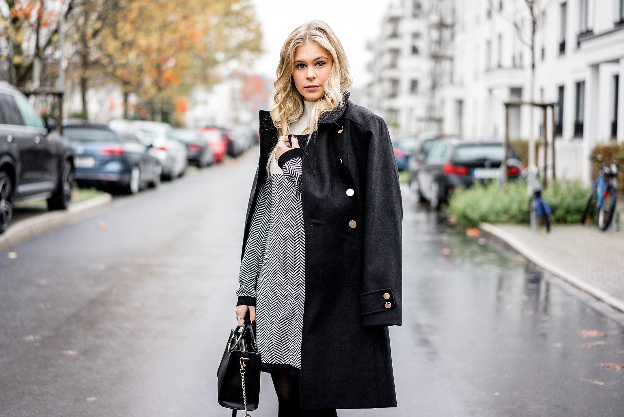 Outfit Winter Mantel schwarz Modeblog Düsseldorf Sunnyinga