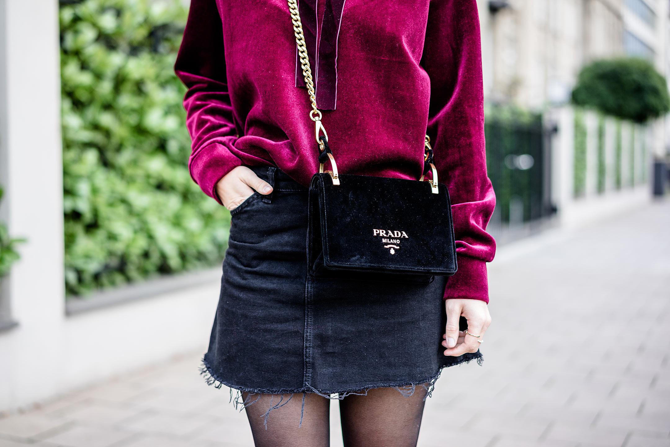 Prada Velvet Shoulder Bag Nero Samt Designer Handtasche schwarz Sunnyinga