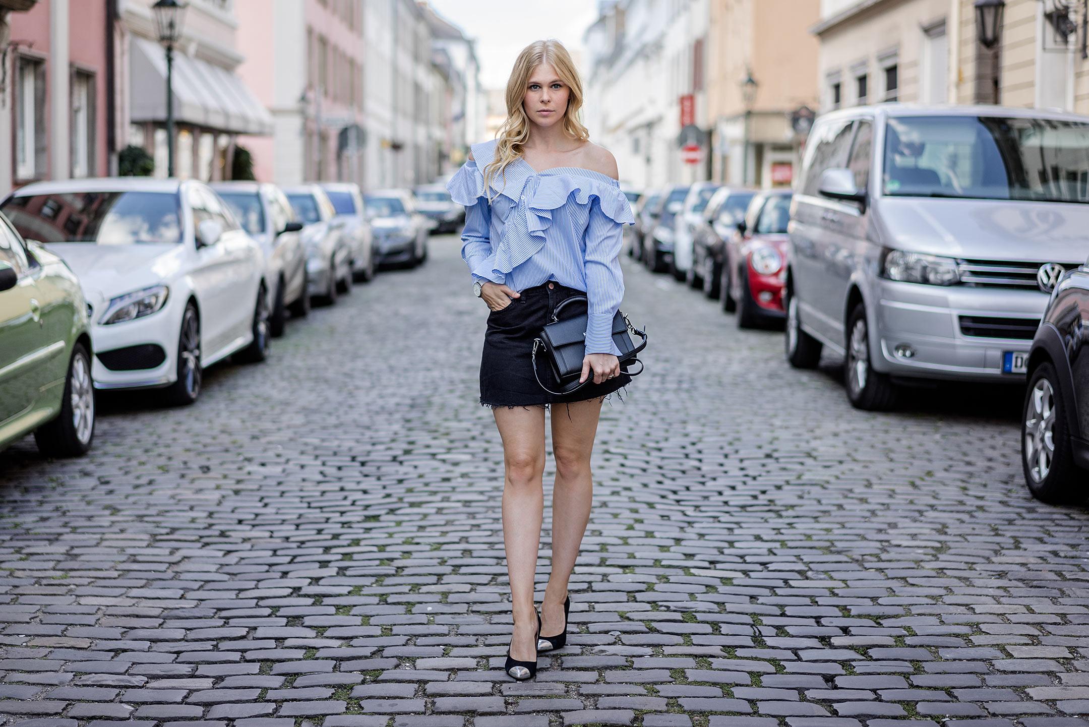 Sunnyinga Designer Lookalike Outfit Bluse Rock Fashion Bloggerin Düsseldorf