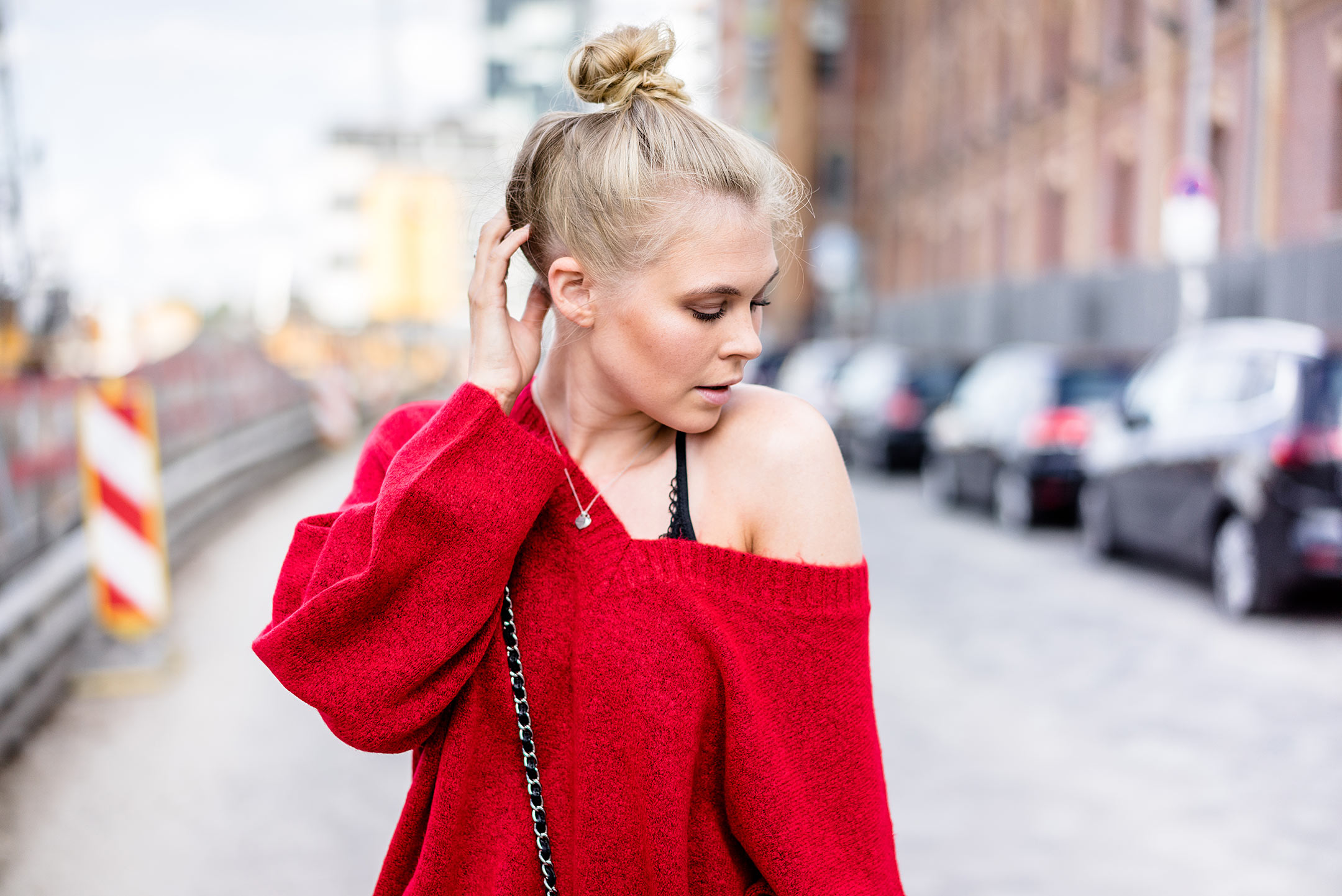 Sunnyinga Strickpullover rot Outfit Herbst Streetstyle Fashion Blogger