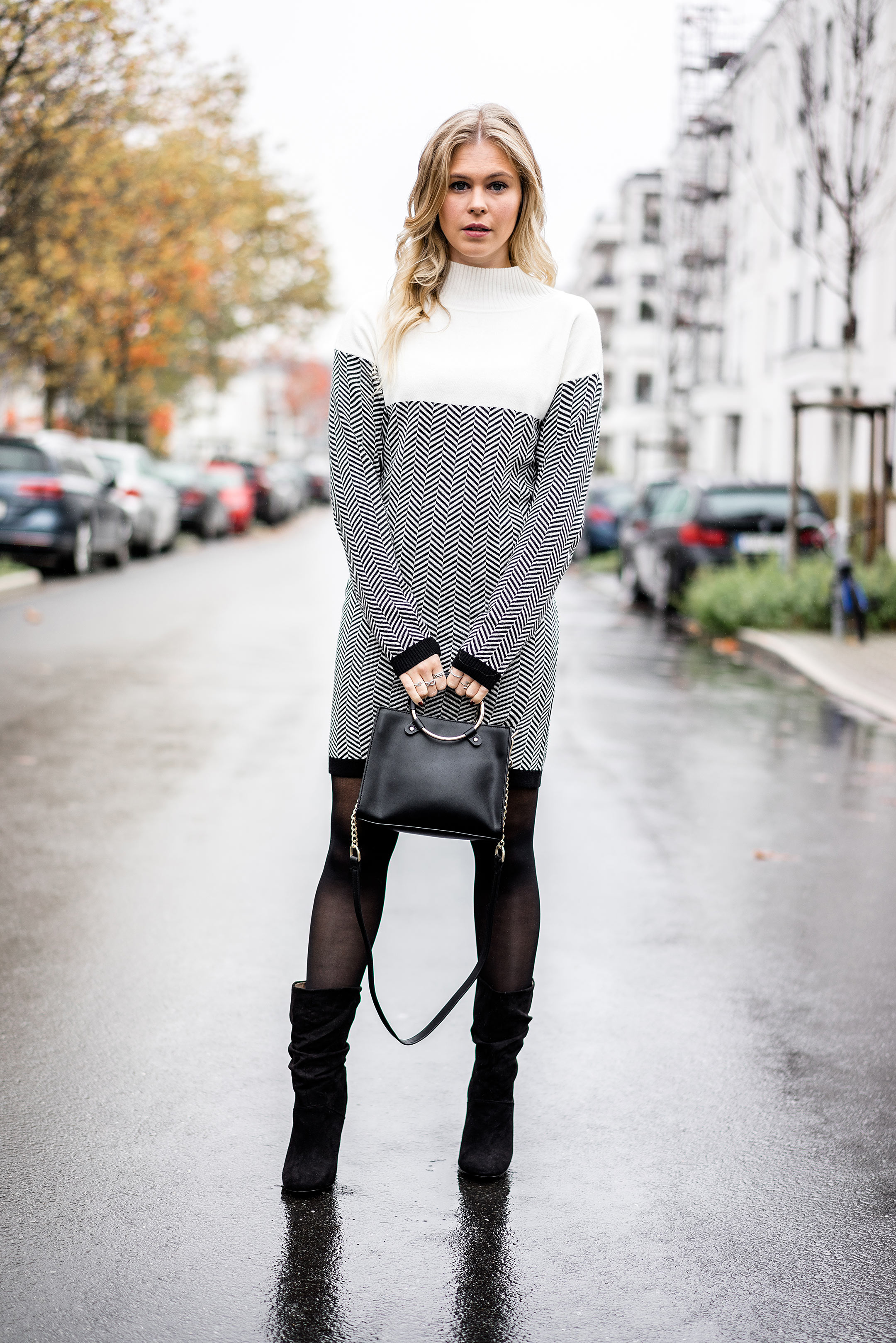 Sunnyinga Winterkleid Streetstyle Outfit ootd Slouch Boots Fashion Blogger