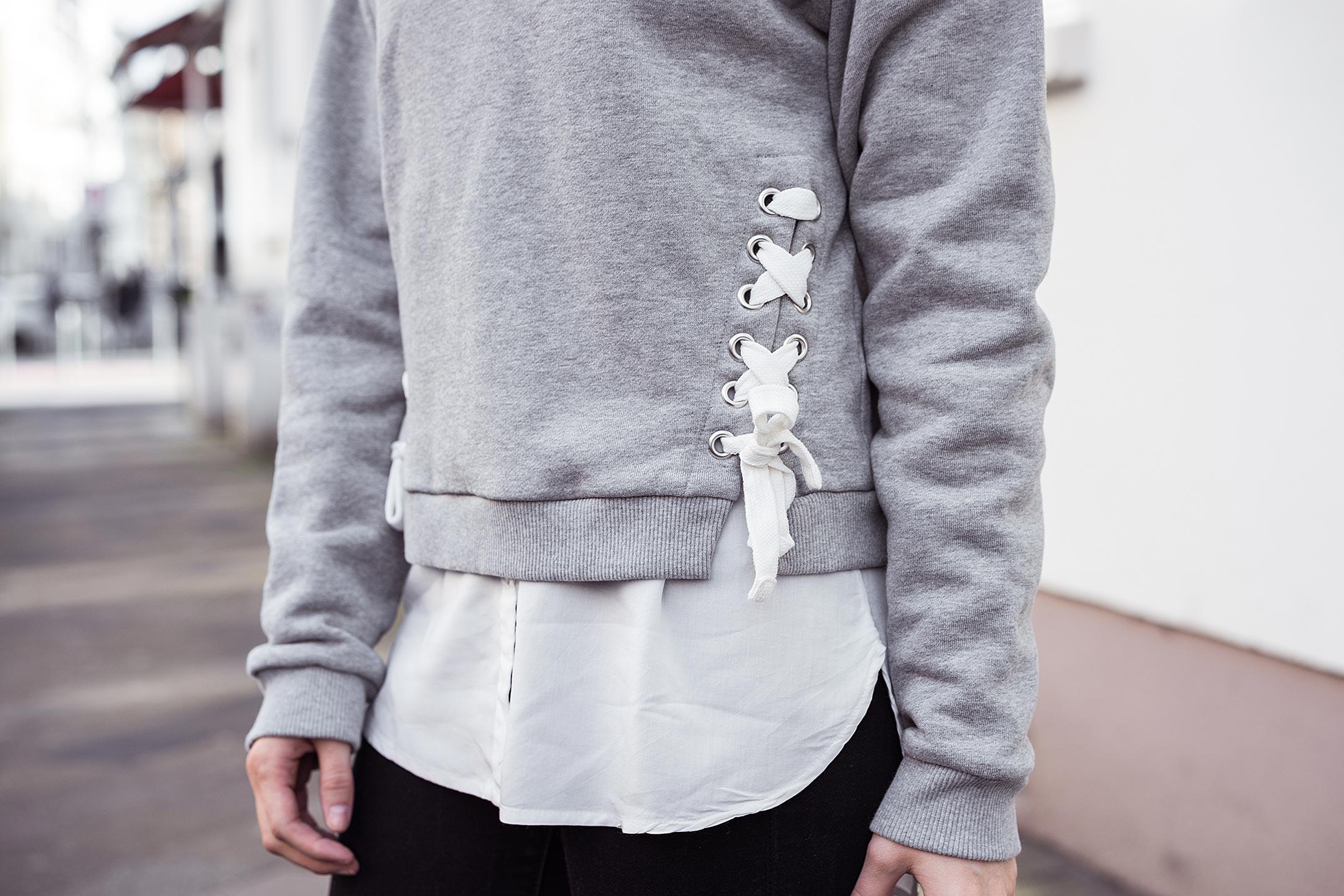 Sweatshirt Pullover Schnürung grau Outfit Sunnyinga Fashionblog
