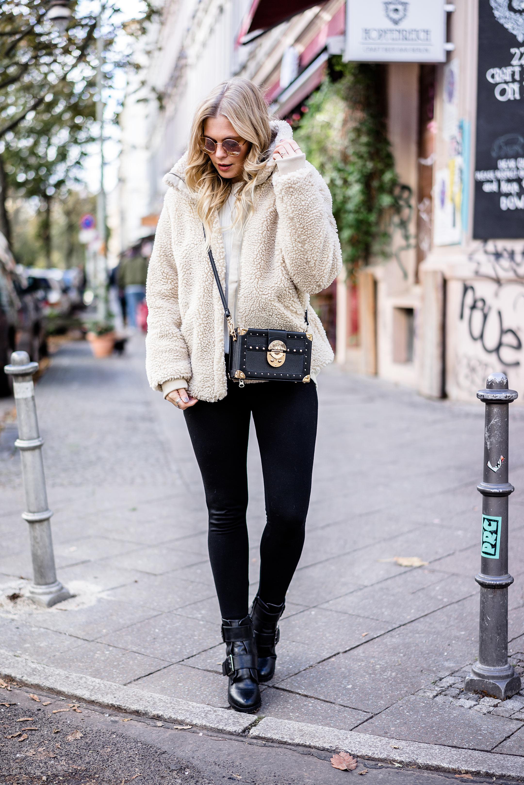 Teddy Coat Skinny Jeans Buffalo Boots Tasche Mango Sunnyinga