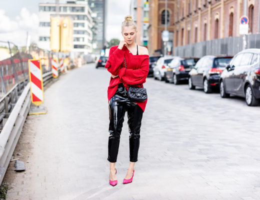Vinyl Pants Outfit Strickpullover rot Herbst Streetstyle Fashion Blogger Sunnyinga