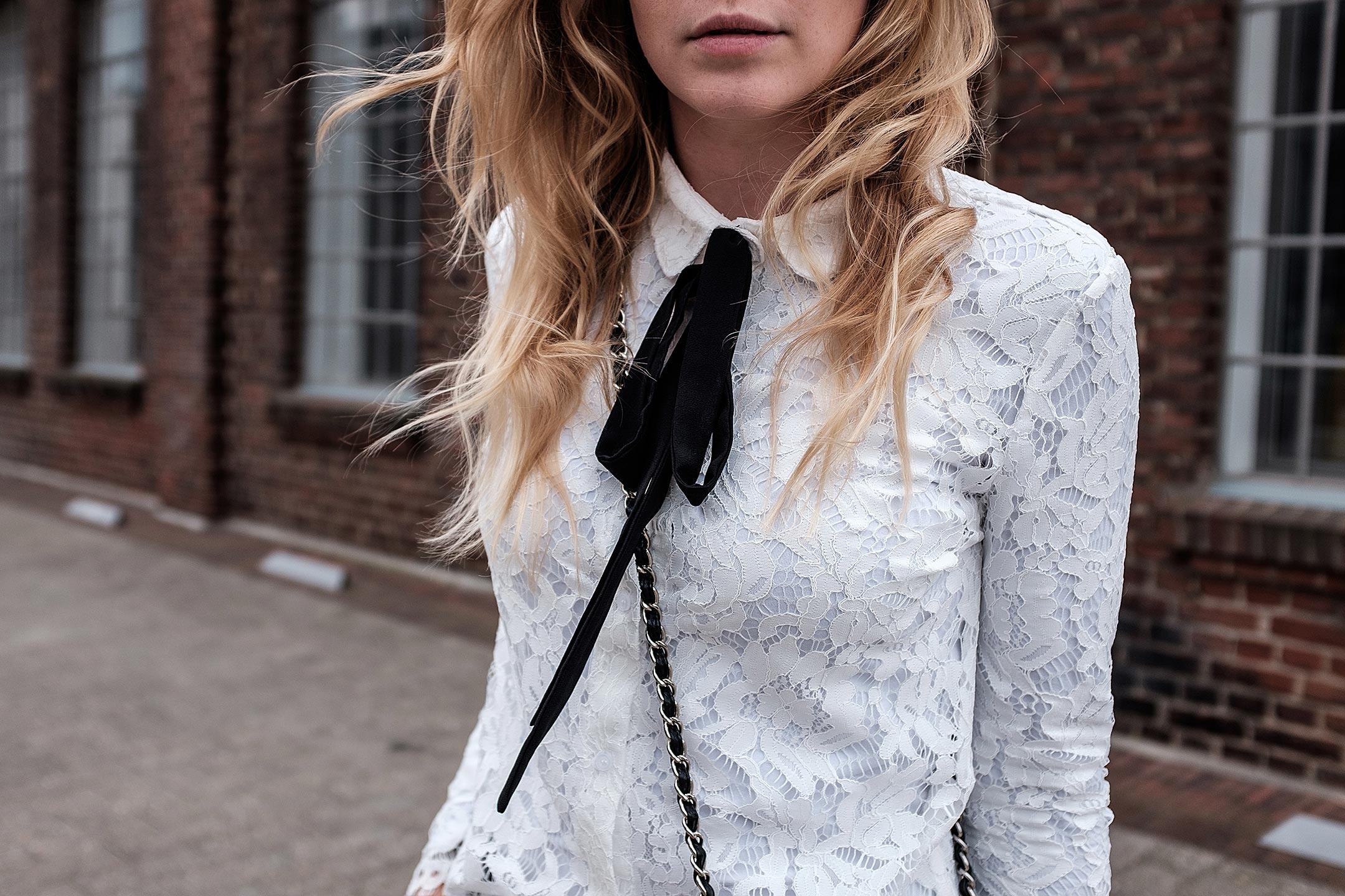 Weiße Spitzenbluse Outfit Fashionblog Sunnyinga